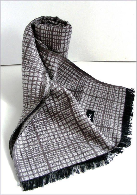 grey Cashmere man scarf/wrap Écharpe Homme gris carreaux