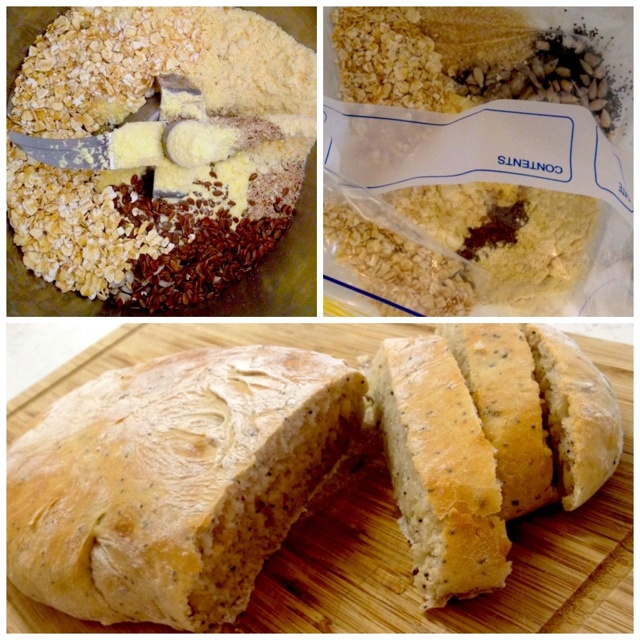 Bible Bread: 2.5 cups white flour 1 tbsp sesame seeds 2 tbsp raw sugar 1 tbsp sunflower seeds 1 tbsp maize flour 1 tbsp ground almonds 1 tbsp soy flour 1 tbsp linseeds 1 tbsp pumpkin seeds 1 tbsp besan flour 2 tbsp rolled oats 1&1/3 cup water 1 tbsp cold-pressed oil  1&1/2 tsp sea salt 1.5 tsp dried yeast  Mix in Thermomix at speed 6/7 Knead Allow to rise for 1/2-1 hr Punch down, split in two, allow to rise for 1/2 hour Bake 15-20 mins