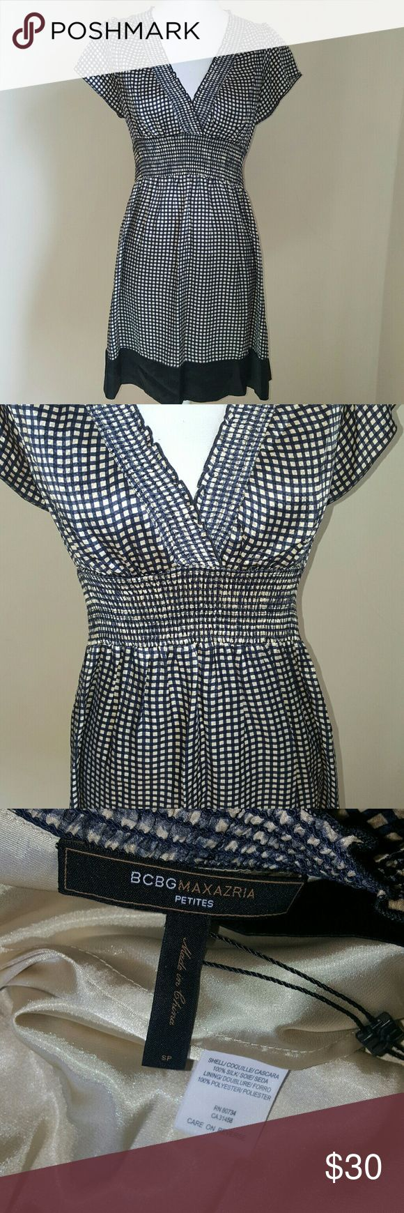 Selling this ⬇️BCBGMaxAzria Silk Checkered Dress on Poshmark! My username is: amichellev. #shopmycloset #poshmark #fashion #shopping #style #forsale #BCBGMaxAzria #Dresses & Skirts
