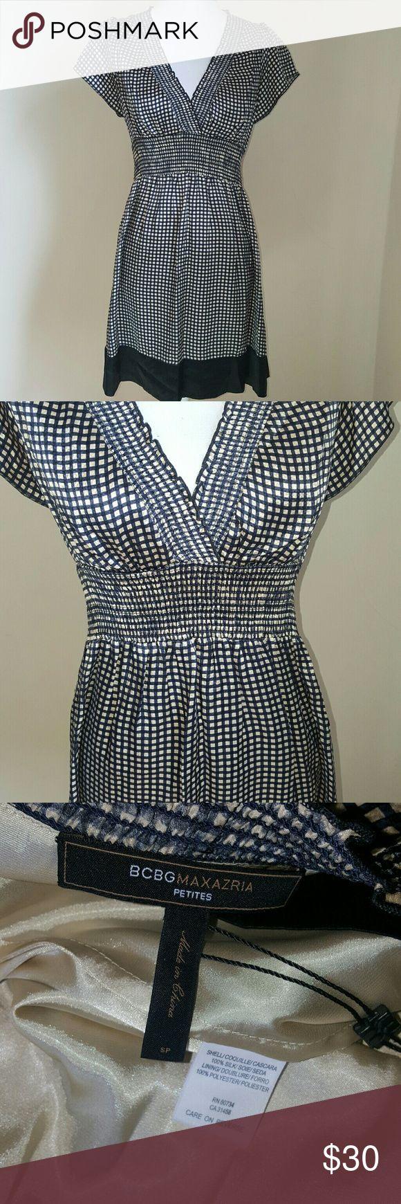 Selling this ⬇️BCBGMaxAzria Silk Checkered Dress on Poshmark! My username is: amichellev. #shopmycloset #poshmark #fashion #shopping #style #forsale #BCBGMaxAzria #Dresses & Skirts
