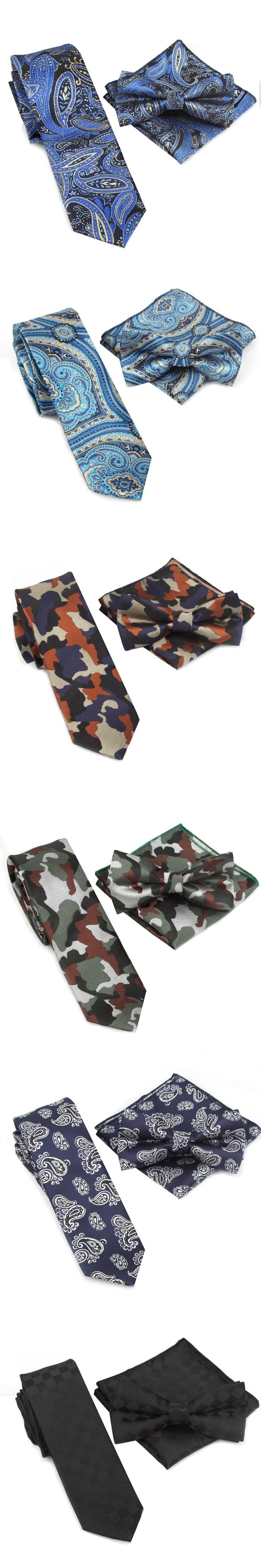 Neck Tie Set CAMO Bow Ties for Men Mariage Necktie Pocket Handkerchief Butterfly Towel Wedding Cravat Gravata Slim 6cm width