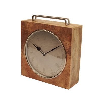 "Yosemite Home Decor Wooden Square Shaped Clock Size: 12"" H x 10"" W"