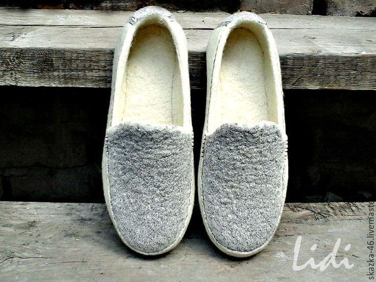 Купить Валяные туфельки мокасины Релакс, войлок, шерсть, серо-коричневые - комбинированный, лоферы, мокасины