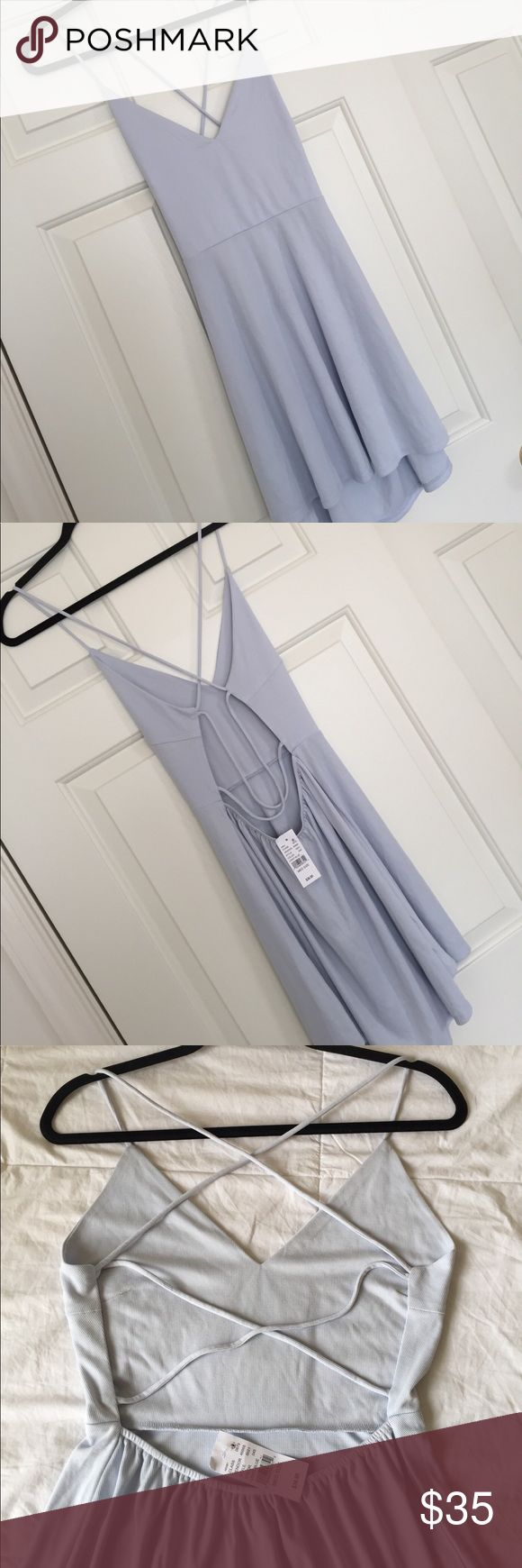 L.A. Hearts open back dress Baby blue super soft skater dress! Fitted top, flowy bottom and strappy open back. NWT La Hearts Dresses