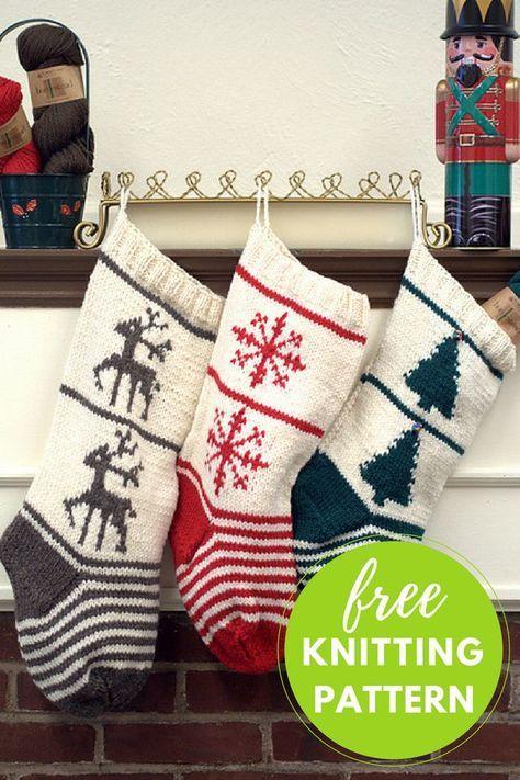 Christmas Stocking Trio Free Knitting Pattern