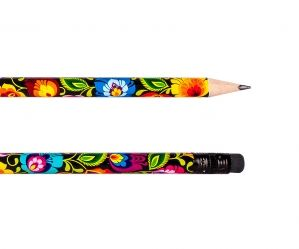 Czarny folk ołówek z gumką w kolorowe motywy łowickie
