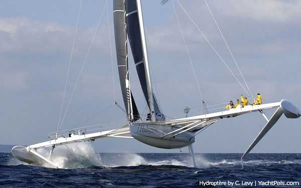 L'Hydroptère, the huge Hydrofoil Tri (pictured above), with a jaw-dropping 47+ knot top speed, is the fastest sailing boat in the world. Over the nautical mile, the flying boat clocked an impressive 41.69 kts last fall, on Quiberon Bay in France, for the world record.