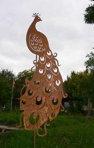 Stolzer Pfau Vogel Gartenstecker Rost Edelrost Metall Figur Rostfigur