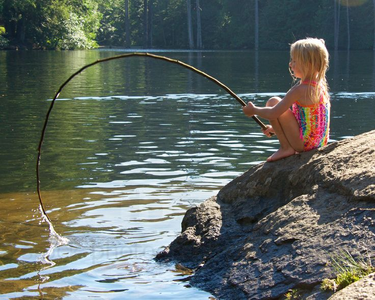 Young girl fishing at Colliery Dam