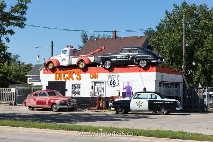 Joliet, IL - 2014 : Dick's Towing is a towing business and roadside attraction across from the Route 66 Park.