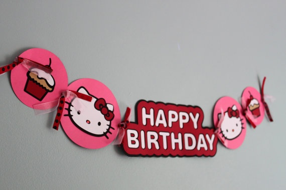 Hello Kitty Birthday Banner by calladoo on Etsy, $16.00
