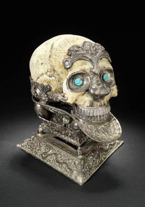 19th Century Tibeten carved ceremony skull