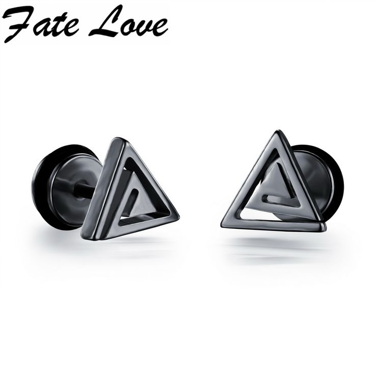 Casual Stainless Steel Triangle Design Stud Earrings  Black White Gold Colors Man Jewelry Male Earrings FL300