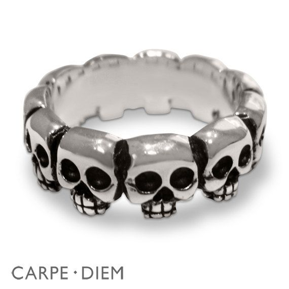 Mens Skull Ring Sterling Silver Rings Unique by carpediemjewellery, $129.00