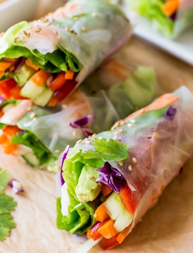 Fresh Summer Rolls with Easy Peanut Dipping Sauce | 10 Spring Roll Recipes With Sweet And Savory Fillings by Homemade Recipes at http://homemaderecipes.com/spring-roll-recipes/