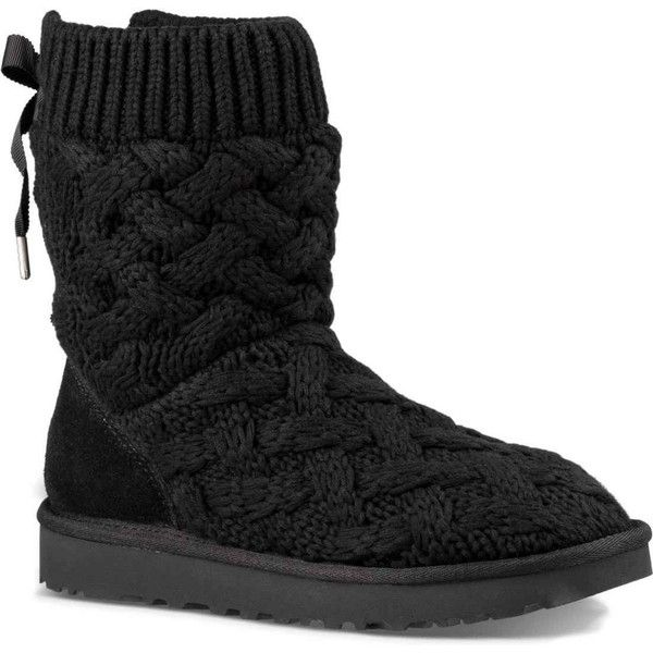 UGG Women's Isla Black TL Boots ($150) ❤ liked on Polyvore featuring shoes, boots, ankle boots, black, ugg shoes, ugg® bootie, black bootie boots, black shoes and black lace shoes