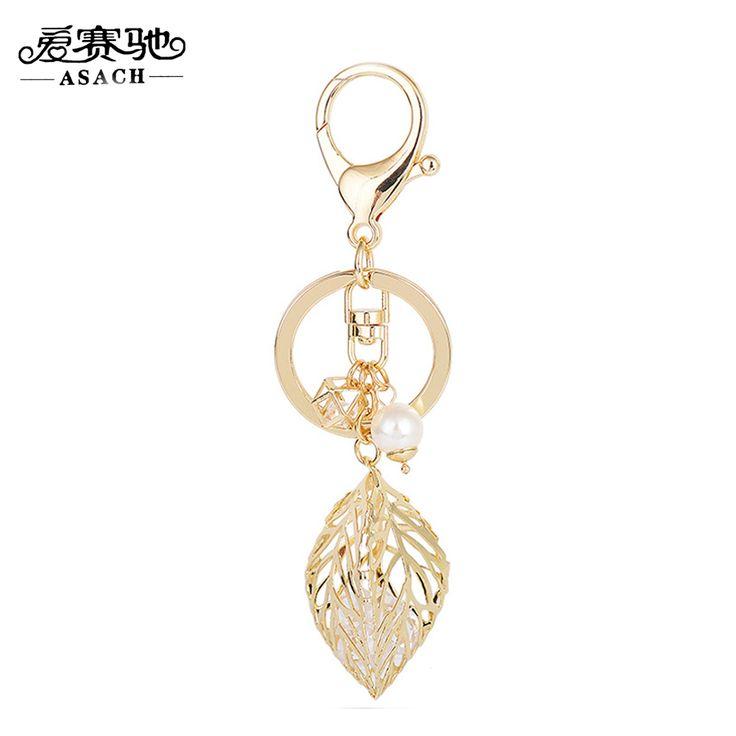 ASACH Fashion Hollow Alloy Leaf Car Keychain Key Holder Women Cute Imitation Pearl Crystal Pendant Bag Ornaments Keyring Jewelry #Affiliate