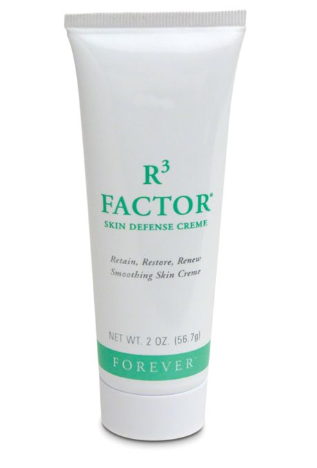 Forever R3 Factor Skin Defence Creme -  retain, restore and renew a healthy vibrant glow to the skin with a combination of Aloe Vera gel, soluble collagen, HA and AHAs. Helps maintain healthy skin colour, texture and feel, as well as targetting crow's feet.