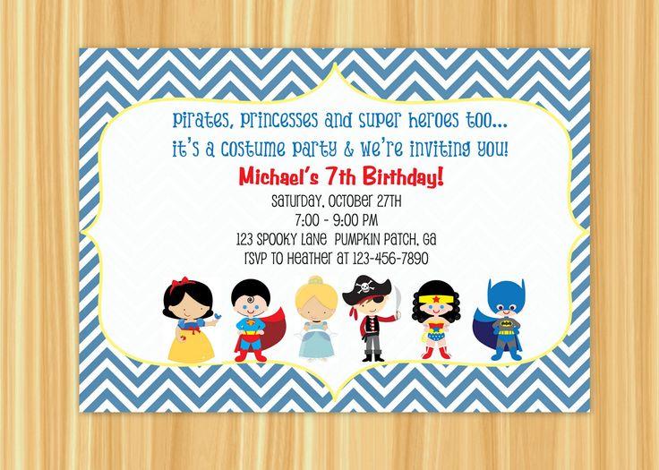 Custom Printable Kids Costume Party Birthday Invitation. $10.00, via Etsy.