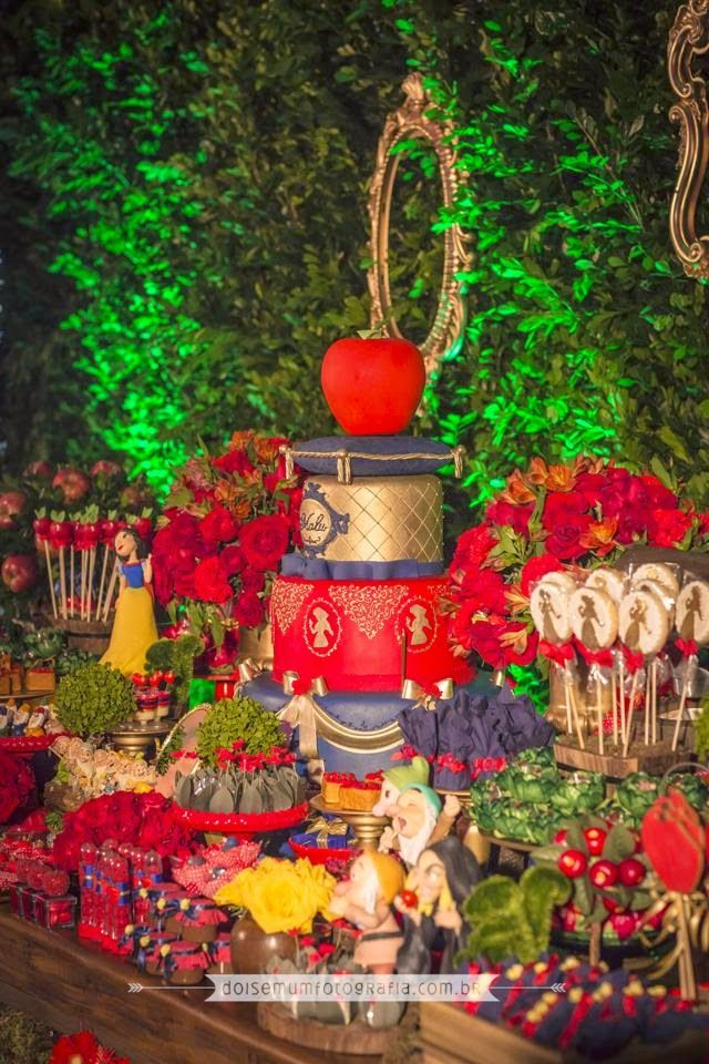 Festa de aniversário | Mesa de doces | Branca de Neve e os Sete Anões | Disney