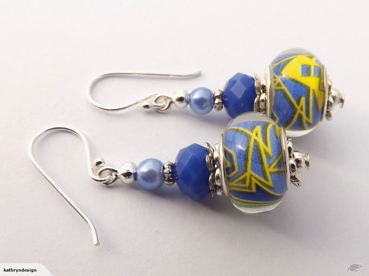 Blue & Yellow Acrylic Bead Earrings on 925 Hooks | Trade Me
