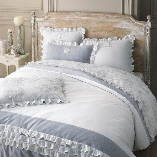 Parure de lit 220 x 240 cm en coton blanche RAPHAEL