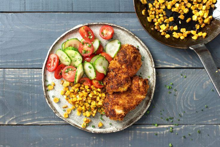 Crispy Chicken With Brown Butter Corn And Cucumber Tomato Salad Recipe Crispy Chicken