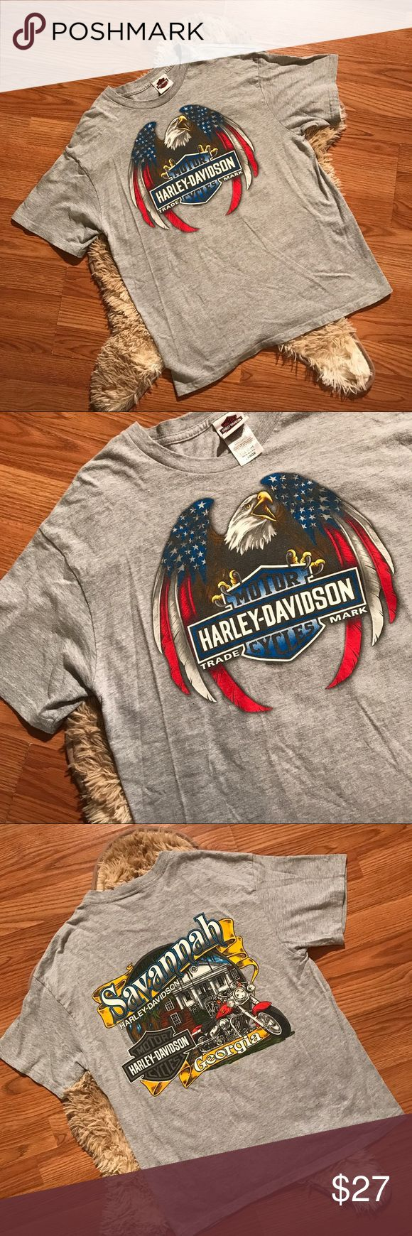 Vintage • gray HARLEY DAVIDSON graphic  t-shirt Vintage medium gray colorful HARLEY DAVIDSON of SAVANNAH GEORGIA graphic t-shirt  Size larg —True to size!  Great condition — nothing wrong no defects or flaws Could fit. Medium as well, quality made thicker cotton feel  Like all other tees, Rare to see one gray like this. Comfortable & broken in    #vintage #vtg #Harley #harleydavidson #motorcycle #biker #harley #savannah #cybermonday #gift #present #sale #freeship Harley-Davidson Shirts Tees…