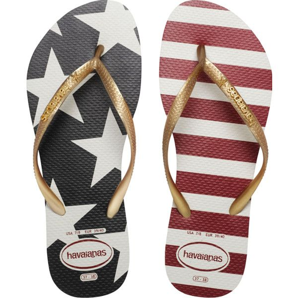 Havaianas Slim Stars & Stripes Flip Flops ($32) ❤ liked on Polyvore featuring shoes, sandals, flip flops, white, slim flip flops, havaianas shoes, print shoes, striped shoes and white sandals