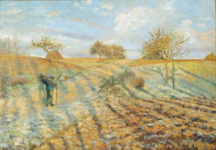 Camille Pissarro. Rijp. De oude weg naar Ennery. 1873. Veel kritiek in zijn tijd op dit schilderij. Citaat dat zijn gewoon van het palet geschraapte vlekken die homogeen op een vuil doek zijn gezet. Het schilderij heeft kop noch staart, boven- noch onderkant voor noch achterzijde.