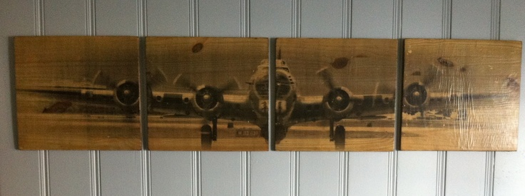 DIY airplane picture on wood from Notes From Heather
