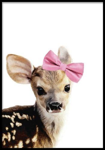 Tavla med gulligt rådjur. Posters med djur.