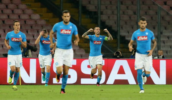 Marek Hamsik of Napoli celebrates after scoring his team's opening goal during the UEFA Champions League match between SSC Napoli and Benfica at Stadio San Paolo on September 28, 2016 in Naples, .