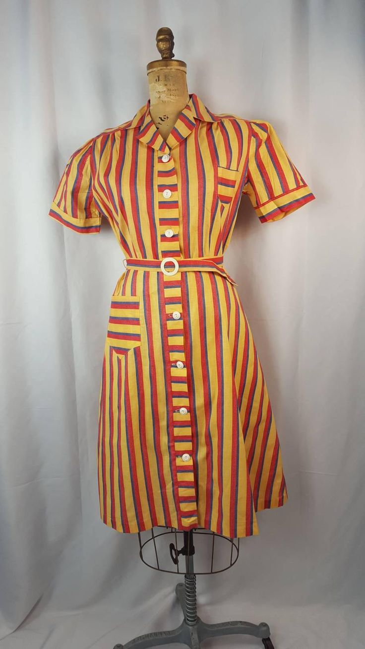 """30s Candy Stripe Cotton Dress 
