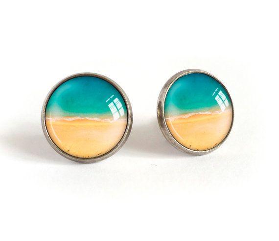 Beach stud earrings, sea image cabochon post earrings, summer beach picture studs, blue sea photo earrings, glass dome jewelry surfer girl