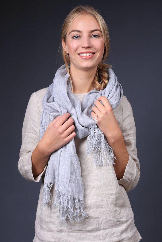 Linnen sjaal / natuurlijke grote linnen overhemd / blauwe linnen sjaal / zacht zuiver linnen sjaal / linnen sjaal / zachte rand sjaal