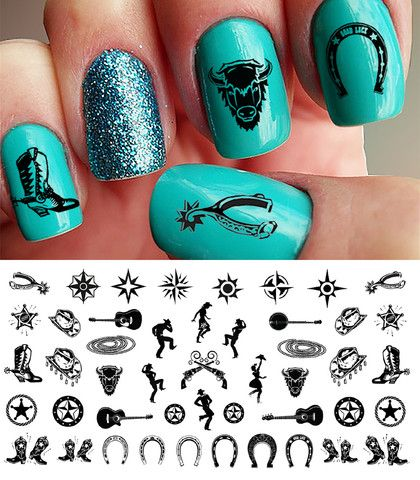 "Country & Western Nail Decals #1 - 5 1/2"" x 3"" sheet – Moon Sugar Decals"