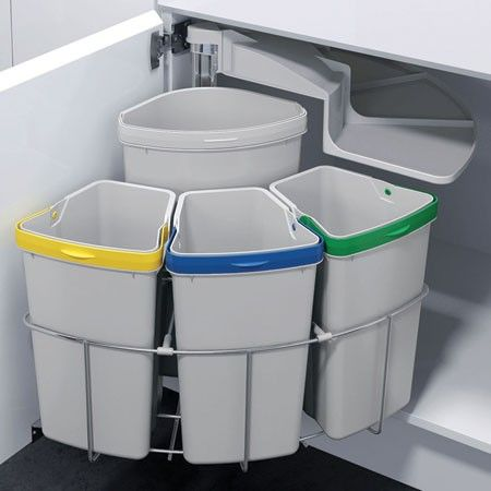 Space Saving Multi Seperation Recycling Bin (500mm Cabinet) 39 Litre - 50279504