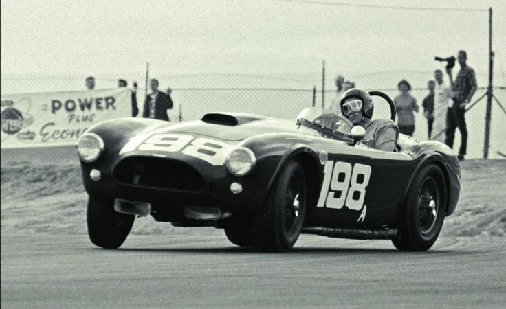 Dave MacDonald Riverside Raceway 1963 in Carroll Shelby's Cobra drifting towards victory