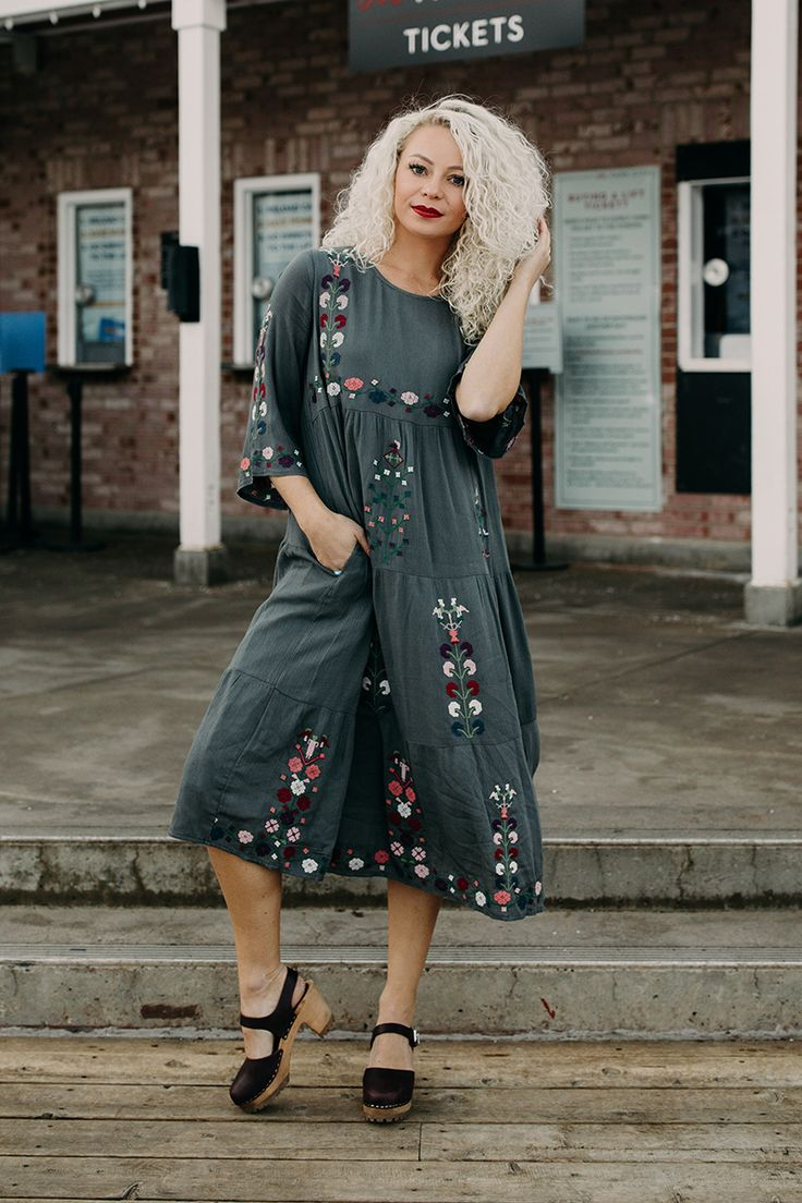 THE PHOENIX EMBROIDERED FLORAL DRESS IN CHARCOAL// DRESSES// WOMENS CLOTHING