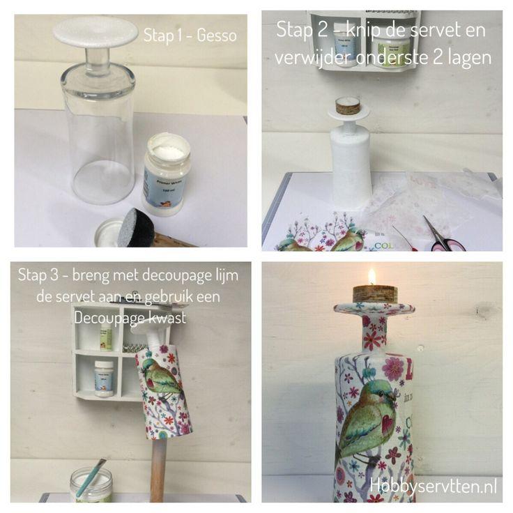Maak je eigen kandelaar. Wat heb je nodig: spons, gesso, decoupage lijm, een glas met voet, waxinelichtje en een servet naar keuze.