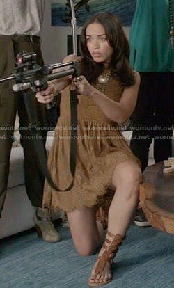 Erica's tan lace dress and gladiator sandals on Last Man on Earth