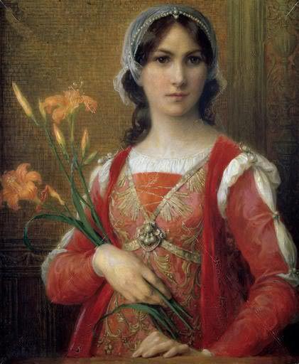 Portrait of Beatrice Portinari, muse of Dante Alighieri, painted by Elisabeth Sonrel (1874 - 1953 )