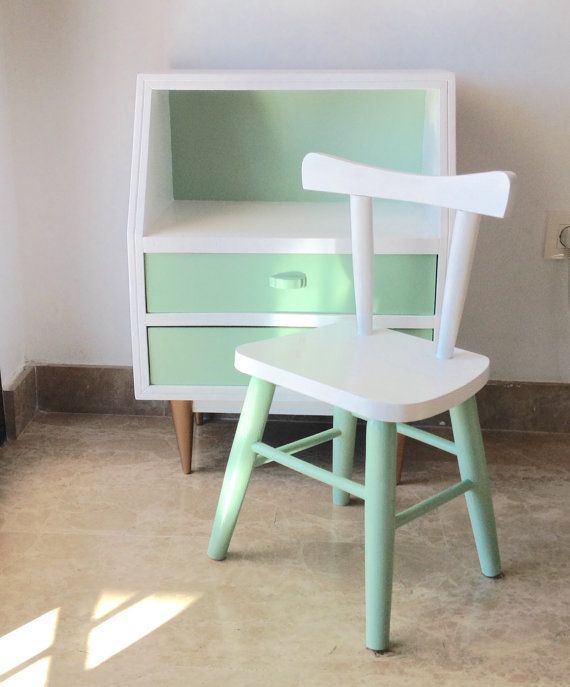 Vintage child's chair; Restored children's chair; Mint and White kids wood chair