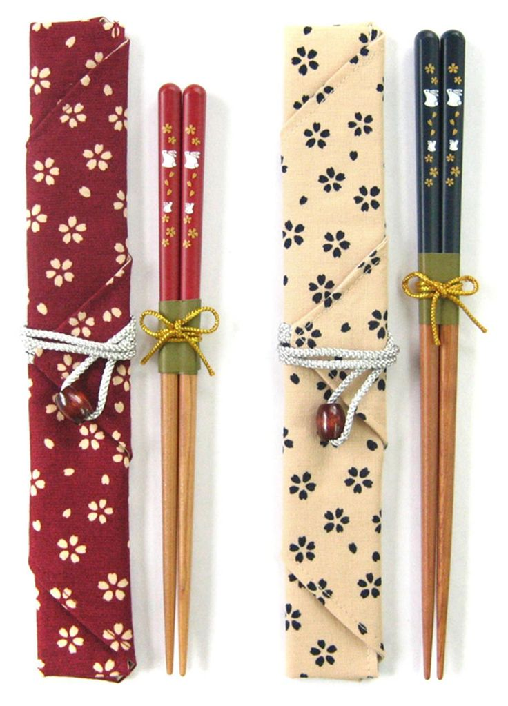 "Japanese ""My chopsticks"" set - cherry rabbit, blue"