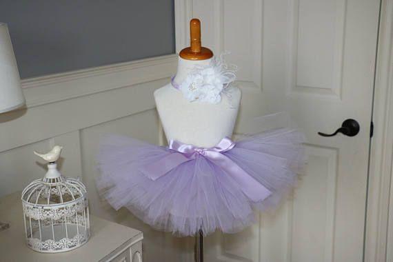 tutu and headband - lavender tutu, soft purple tutu- baby tutu and headband - cake smash tutu