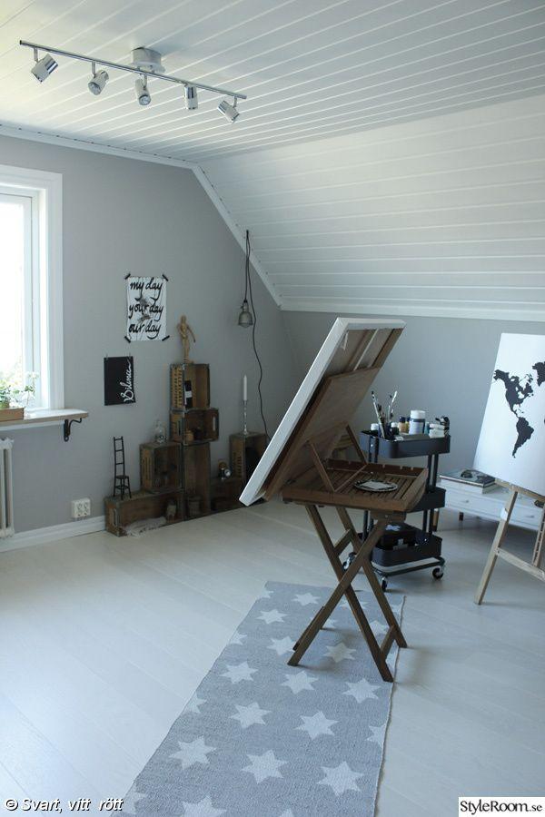 ateljé före och efter,ateljé,vita golv,måla furupanel vitt,tavlor,staffli,arbetsrum i vitt och grått