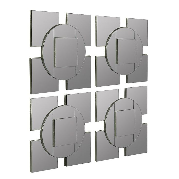 Cooper Classics 40834 Tupan Mirror in Frameless Mirror with Silver Outer Lining - Set of 4