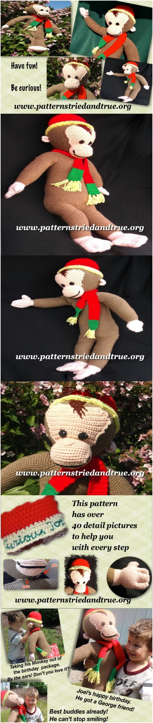 Crochet Monkey Pattern, Curious George, easy to follow to make kids their favorite monkey, Classic children's toy in heirloom quality