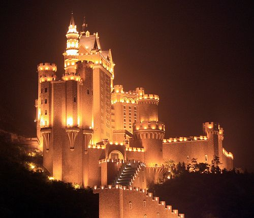 Dalian, China: Dalian Castle... didn't get to see it at night but it was still pretty during the day!